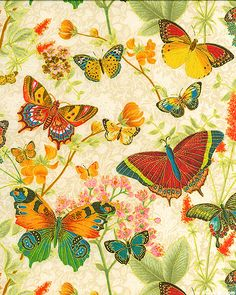 """Botanical Butterflies"" by Hoffman Fabrics"