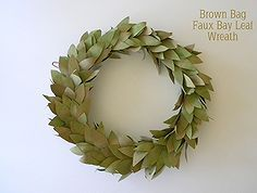 brown bag faux bay leaf wreath, crafts, wreaths. Color with water color paints