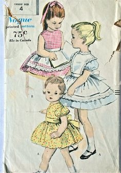 vintage 60's Vogue 5043 girls' Dress, Pinafore and Apron, size 4 breast 23. $14.00, via Etsy.