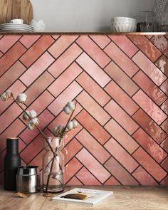 We're in love with our Rose Mallow ¿What do you think? Kitchen Tiles, Kitchen Design, Warehouse Kitchen, Casa Loft, Yellow Kitchen Decor, Modern Headboard, Pink Tiles, Plastic Design, Decoration Design