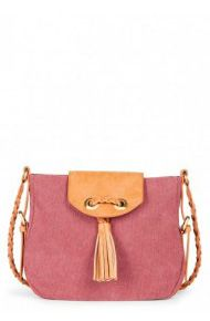 Canvas crossbody bag with a front tassel and braided shoulder strap