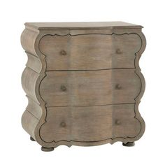 The Melrose Chest features a curvilinear silhouette with matching drawer cutouts. Minimalist floral brass hardware and a unique curved design add feminine appeal to this weathered oak chesk of drawers. Grey Oak, Brown And Grey, Low Chest Of Drawers, Brown Furniture, Weathered Oak, Diy Bedroom Decor, Home Decor, Home Furnishings, Antiques