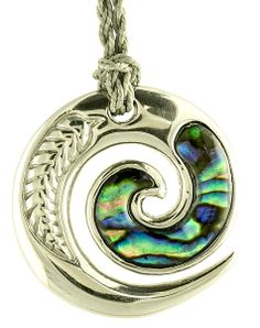 Earthbound Kiwi - New Zealand Paua Open Koru Stainless Steel Necklace, $29.95 (http://www.earthboundkiwi.com/necklaces/maori-spiral-koru-infinity-designs/new-zealand-paua-open-koru-stainless-steel-necklace/)