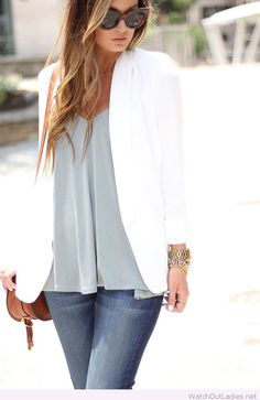 Pretty white blazer and grey top