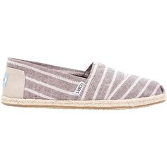 TOMS Alpargata Flat Heeled Slip On Espadrilles, Brown ($60) ❤ liked on Polyvore featuring shoes, flats, slip-on shoes, brown shoes, espadrilles shoes, round toe flats and toms shoes