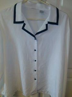 Vintage 1980s Black/White Blouse Button Down 2X #noname #ButtonDownShirt
