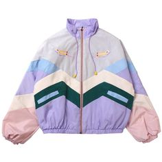 Buy Pastel Colors Patches Lines Hood Rain Coat Cheap Trendy Aesthetic Clothes an. K Fashion, Japan Fashion, Korean Fashion, Fashion Outfits, Parisian Fashion, Bohemian Fashion, Fashion Clothes, Street Fashion, Retro Fashion