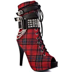 Abbey Dawn Women's MFP Platform Bootie - Tartan (115 AUD) ❤ liked on Polyvore featuring shoes, boots, ankle booties, heels, sapatos, red, tartan, platform booties, red ankle boots and lace up platform booties