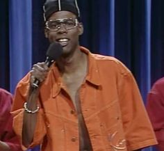 Chris Rock crushin' the 1992 Karl Kani Denim shorts and Short sleeve (Had this suit loved it!)
