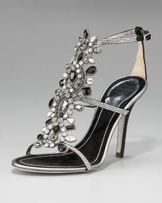Picture these with Skinny slacks and a jacket! Beautiful!! >>> Crystal T-Strap Sandal by Rene Caovilla at Neiman Marcus.