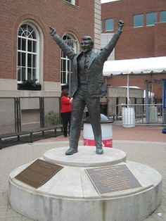 """Herb Brooks statue outside the Xcel Center in St. Paul, Minnesota. Brooks was the coach of the 1980 """"Miracle on Ice"""" USA Olympic hockey team."""
