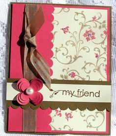 Hand made My Friend greeting card Stampin by JulieAnnesTreasures, $4.50