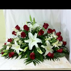 Casket spray white lilies and red roses but add some white roses also. Casket Flowers, Grave Flowers, Cemetery Flowers, Church Flowers, Funeral Flowers, Silk Flowers, Wedding Flowers, Gladiolus Arrangements, Funeral Floral Arrangements