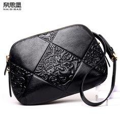 d8e19d87de28 NAISIBAO New women bag Superior cowhide leather brands cowhide fashion  genuine leather embossing women shoulder messenger bag