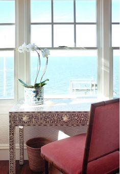 Desk overlooking the ocean from a fabulous Beach House on Long Beach Island featured on Between Naps on the Porch.