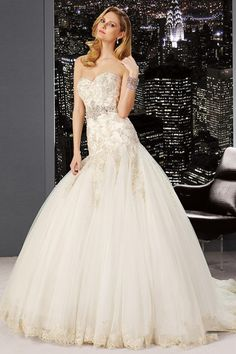 2014 Marvelous Sweetheart Wedding Dress Drapped Waistline With Beaded Applique Tulle USD 249.99 STPZLXAZ7Z - StylishPromDress.com