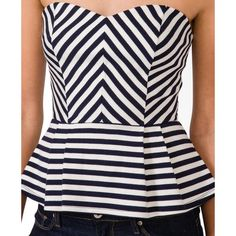 FOREVER 21 Striped Peplum Top ($18) found on Polyvore