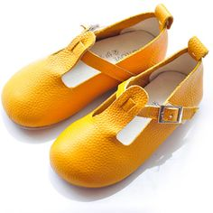 Toddler Little Flower Pageant Girl Yellow Leather Mary Jane Shoes Buy SKU-133103