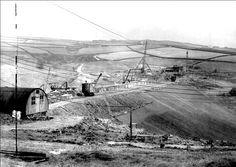 0658 Work on the Digley reservoir dam in the early 1950s. See also 0501.