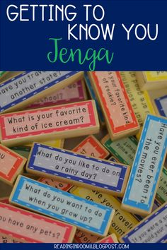 A great ice breaker for getting to know students! 57 fun and engaging questions for you and your students to answer.  There are two sizes included. One is compatible with the standard Jenga and the other fits Target's Jumble which can be found in their Dollar Spot.  There are so many options how you can play this game! Students can read questions, teachers can read questions, it can be played in pairs, small group, whole group, the possibilities are truly endless!!