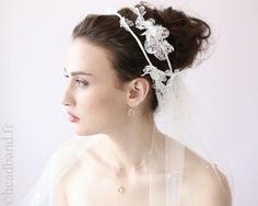 Headband dentelle fleurs blanches