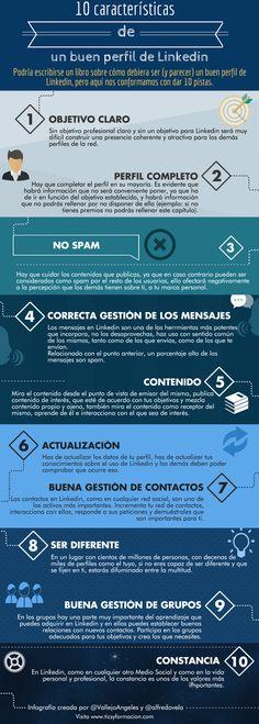 10 características de un buen perfil de Linkedin #infografia #infographic #socialmedia