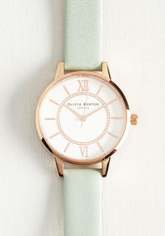 Head of the Classic Watch in Mint & Rose Gold. Stay on the track to success with this ever-so posh rose gold Wonderland watch by Olivia Burton. #mint #modcloth
