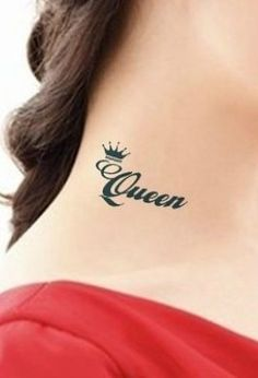 Queen tattoo with crown on neck. Princess Crown Tattoos, Queen Crown Tattoo, King Queen Tattoo, Anklet Tattoos, Feather Tattoos, Forearm Tattoos, Tribal Tattoos, Tattoo Neck, Tattoo Girls