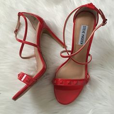 Steve madden red studded heels Gorgeous heels that will have you ready for spring/summer! Studded design and a gorgeous red color. Some barely there store wear on the last studs from rubbing on box. Brand new in box. Style: fayy. Patent. Offers welcome through offer tab. No trades! Steve Madden Shoes Heels