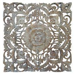 """Oriental Carved Floral Wall Decor. Unique Asian Wood Wall Art. Large Square Carved Wood Panel.Rustic Wall Decor. 24""""x24""""x0.5"""" Available in Brown and Light White Wash"""