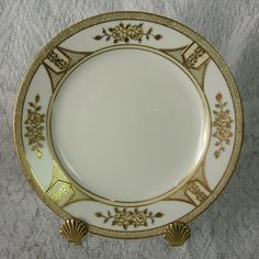 Bread and Butter Plate  White w/ Raised Gold by DustedMemories
