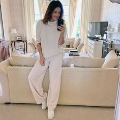 Julie wears a perfect work from home outfit   40plusstyle.com