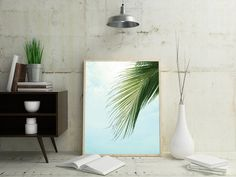 Palm Leaf Poster Large Beach Wall Art Tropical by OjuDesign