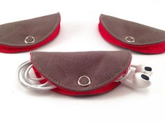 Cord Taco, Cord Holder, Earbuds Holder, Cable Management - Coffee & Red Cotton