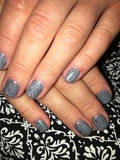 Grey gel polish and stamping