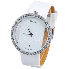 $4.27 Diamonds Design Hollow Quartz Watch with Analog Indicate Leather Watchband for Women