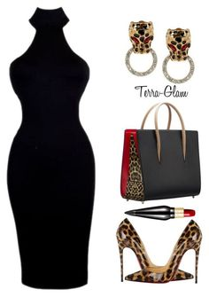 Leopard Lady by terra-glam ❤ liked on Polyvore featuring Christian Louboutin and Kenneth Jay Lane