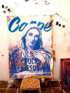"""MARY IN BLUE ANTON UNAI. Found Cardboard on Afghani Silkscreen acryllic 70cm x 100cm Original and signed -------------------- In paintings, Mary is traditionally portrayed in blue. This tradition can trace its origin to the Byzantine Empire, from c.500 AD, where blue was """"the colour of an empress""""."""