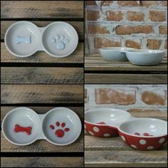 Small Bone & Paw Print Double Dog Puppy Food Water Bowl Dish - Red & Blue