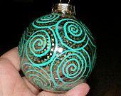 Hand Painted Christmas Glass Ball Green Swirl Ornament