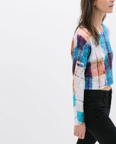 SWEATSHIRT CURTA ESTAMPADA - Estampadas - T - shirts - MULHER | ZARA Portugal