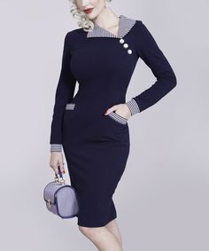 Navy Stripe-Collar Bodycon Dress - Women & Plus   zulily
