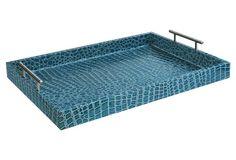 """19"""" Alligator Tray w/ Handles, Blue"""