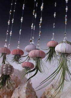 Hanging Jellyfish Airplant Uniquely Strung With Quality Gemstones And Beads That You Will Love by on Etsy