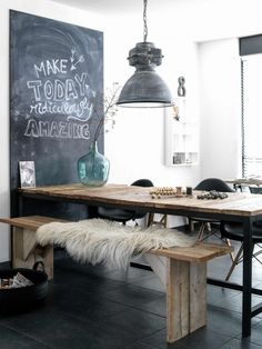 Love the chalk board in the dining room.