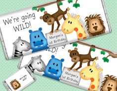 Make your child's birthday party all about animals with personalized candy bars from WH Candy. We're going wild for this design featuring a zebra, hippo, monkey, giraffe and lion! #animalbirthday #zoobirthday #firstbirthday #candyfavors
