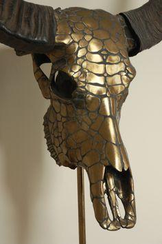 waterbuffel schedel met ,,snakeskin,, dessin. finished in brass, vastgezet op een  sokkel Skulls, Decor, Arms, Decoration, Decorating, Dekorasyon, Dekoration, Home Accents, Deco