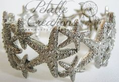 STARFISH CUFF BRACELET, multi- star stretch bracelet, silver starfish bracelet, beach wedding jewelry, bride or bridesmaid gift, $17.00