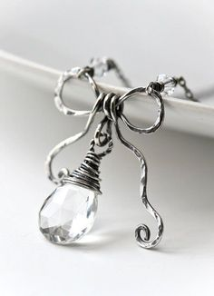 Birth Stone Bow Hand Sculpted Bow Sterling Silver