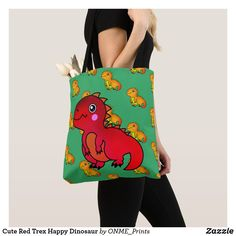 Cute Red Trex Happy Dinosaur Tote Bag #Onmeprints #Zazzle #Zazzlemade #Zazzlestore #Zazzlestyle #Cute #Red #Trex #Happy #Dinosaur #Tote #Bag Shopping Bag Design, Shopping Bags, Cartoon Dinosaur, Cute Dinosaur, Kids Bags, Kawaii Cute, Little Red, Orange Color, Reusable Tote Bags